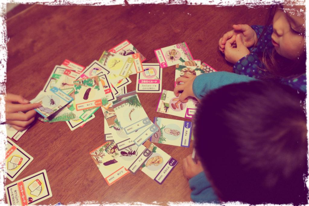 親勉新作カード、昆虫カードで遊んでみる。