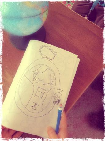 親勉キッズ、年中女子編。地球と月と太陽のお絵描き。