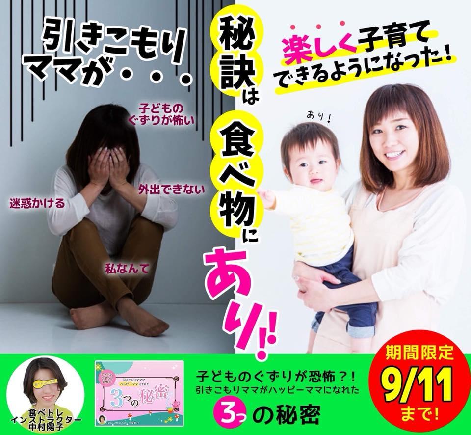 食べトレインストラクター中村陽子 千葉県 「子どものぐずりが恐怖⁉︎引きこもりママがハッピーママになれる3つの秘密」小冊子プレゼント