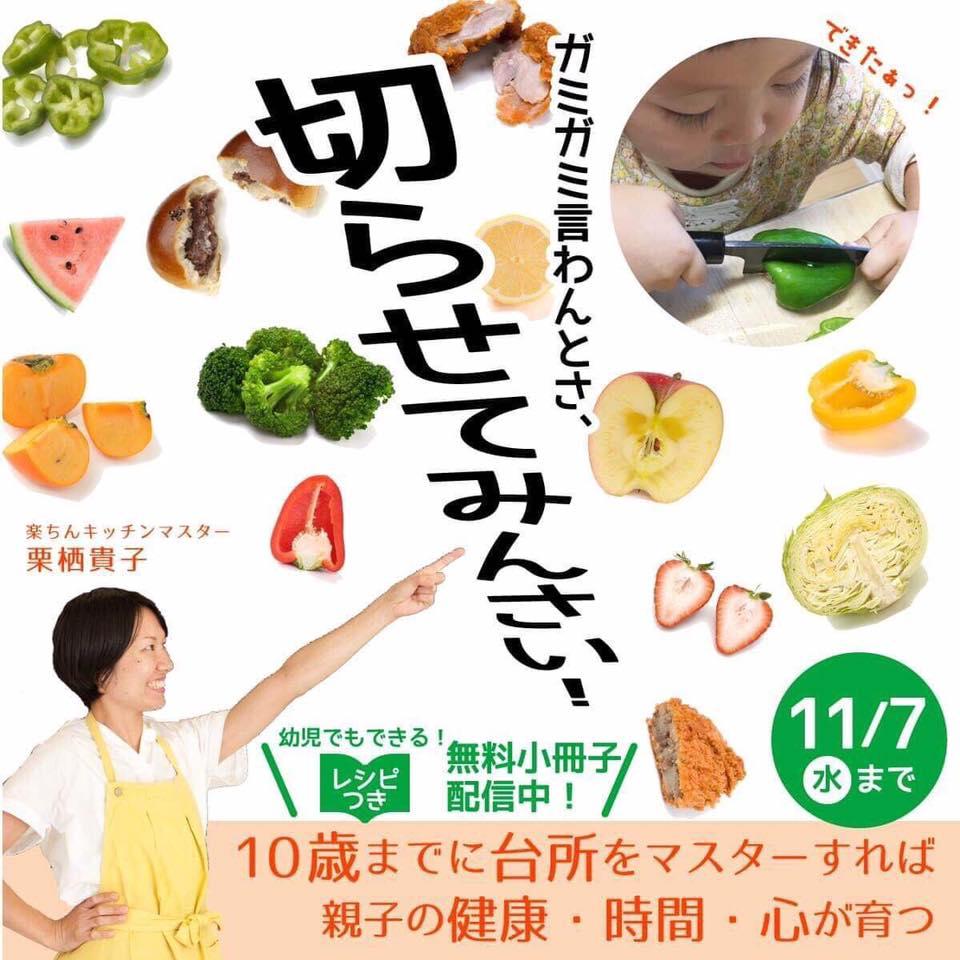 10歳までに台所をマスターすれば親子の健康・時間・心が育つ 幼児でもできるレシピ付き小冊子プレゼント、栗栖貴子
