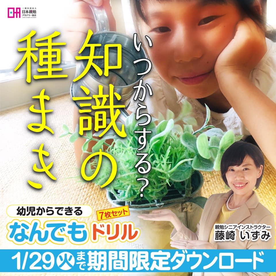 鹿児島 親勉シニアインストラクター 藤崎いずみ 幼児からできる なんでもドリル 7枚セットプレゼント 地球まるごと遊び場に
