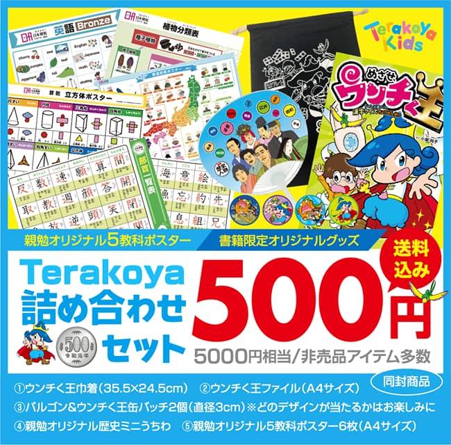 Terakoya詰め合わせセット5000円相当非売品オリジナルグッズ 500円送料込み プレゼント企画 親勉オリジナル5教科ポスター