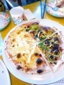 アモリーノAMORINO のデザートピッツア、ピザ。抹茶、ゴルゴンゾーラハニー。